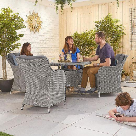 Camilla 4 Seat Dining Set - 1.2m Round Table - White Wash