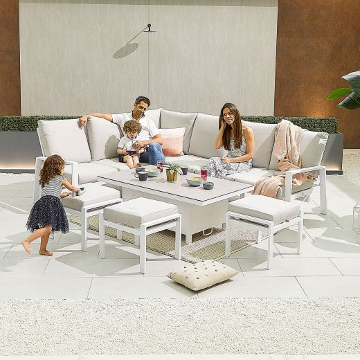 Enna Left Hand Aluminium Reclining Casual Dining Corner Sofa Set with Rising Table & Footstools - White Frame