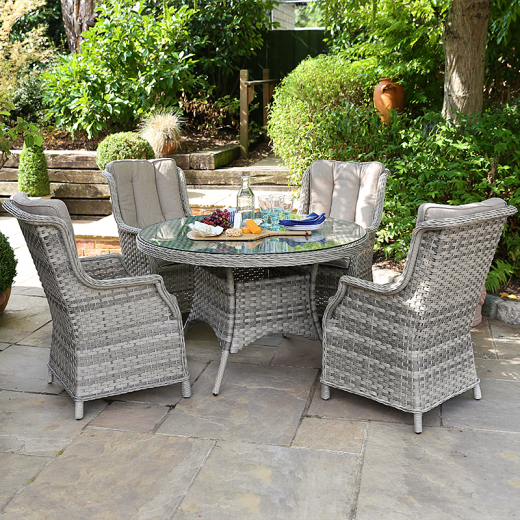 Oyster 4 Seat Dining Set - 1.2m Round Table