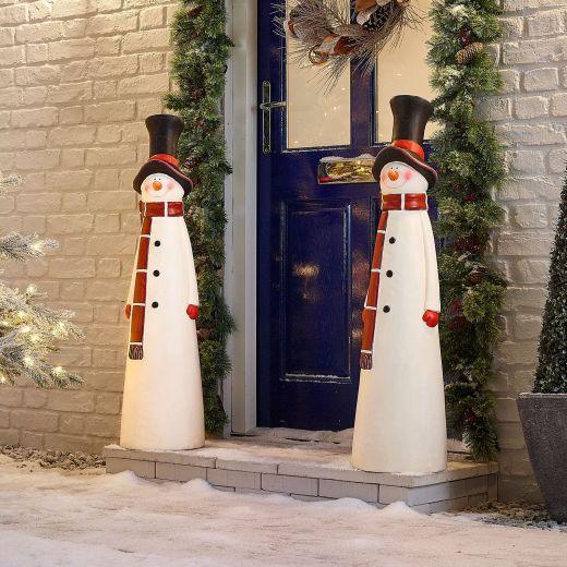 Pair of 102cm Mr Snow Christmas Snowman Figures