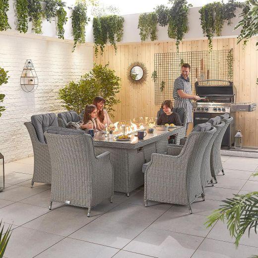 Thalia 8 Seat Dining Set - 2m x 1m Rectangular Firepit Table - White Wash