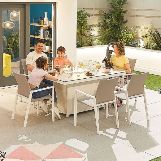 Roma 6 Seat Dining Set - 1.5m x 1m Rectangular Firepit Table - White Frame