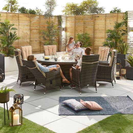 Ruxley 8 Seat Dining Set - 1.8m Round Firepit Table - Brown