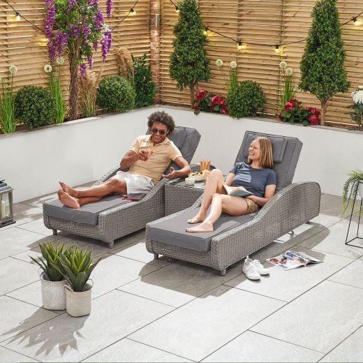 Madison Sun Lounger Set - White Wash