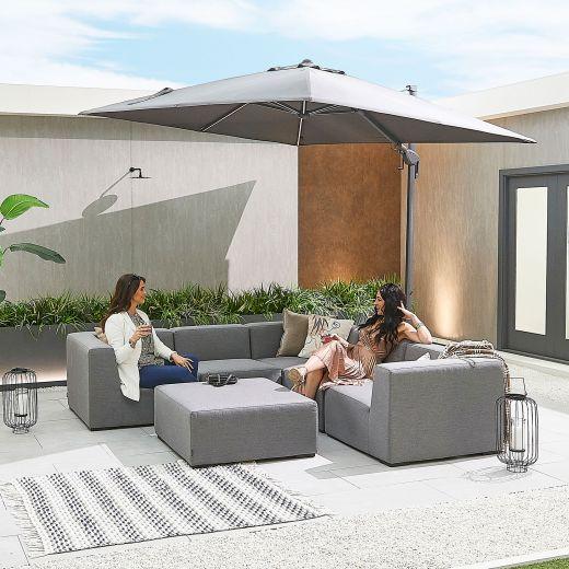 Toft Outdoor Fabric Corner Sofa Set with Stool - Light Grey