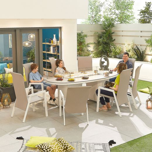 Venice 8 Seat Dining Set - 2.3m x 1.1m Oval Firepit Table - White Frame