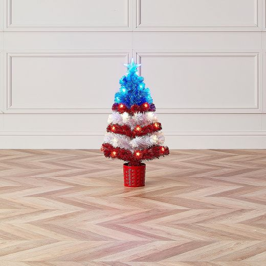 3ft Fibre Optic Stars & Stripes Artificial Christmas Tree