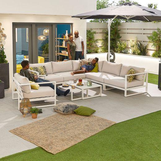 Alessandria 2A Aluminium Corner Sofa Set with Armchair - White Frame