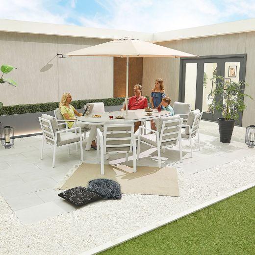 Enna 8 Seat Dining Set - 2.3m x 1.1m Oval Table - White Frame