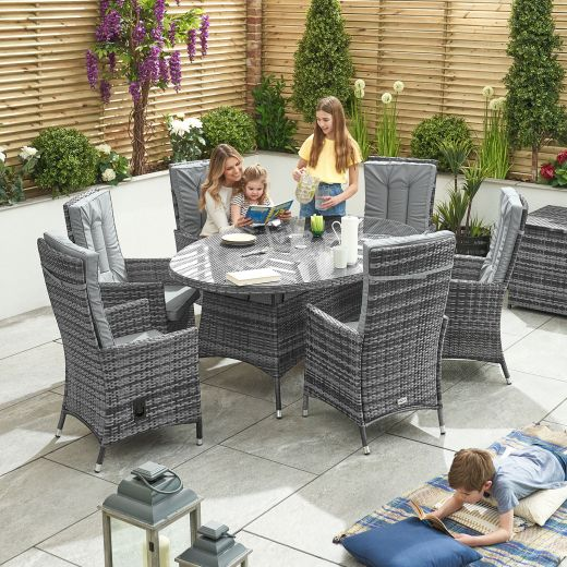 Ruxley 6 Seat Dining Set - 1.8m x 1.2m Oval Table - Grey