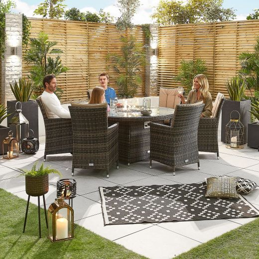 Sienna 6 Seat Dining Set - 1.5m Round Firepit Table - Brown