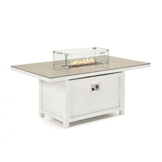 Vogue Aluminium 150cm x 90cm Rectangular Firepit Table - White Frame