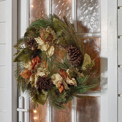 60cm Poinsetta Berry Artificial Christmas Wreath - Copper