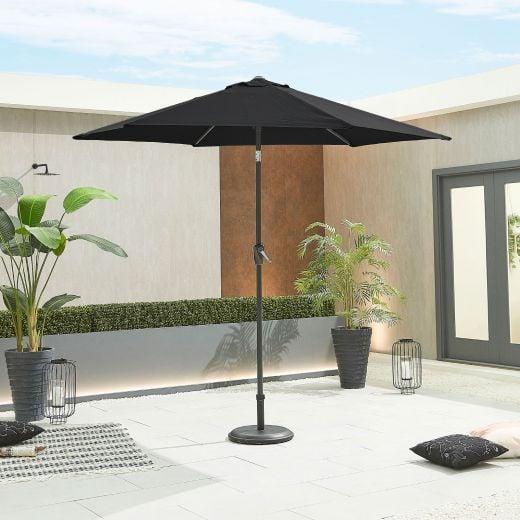 Antigua 2.7m Round Aluminium Parasol - Crank & Tilt - Black