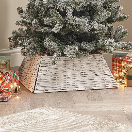 70cm Square Willow Christmas Tree Skirt (Collapsible) - White