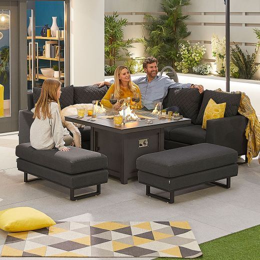 Compact Eclipse Outdoor Fabric Casual Dining Set with Benches and Firepit Table - Dark Grey