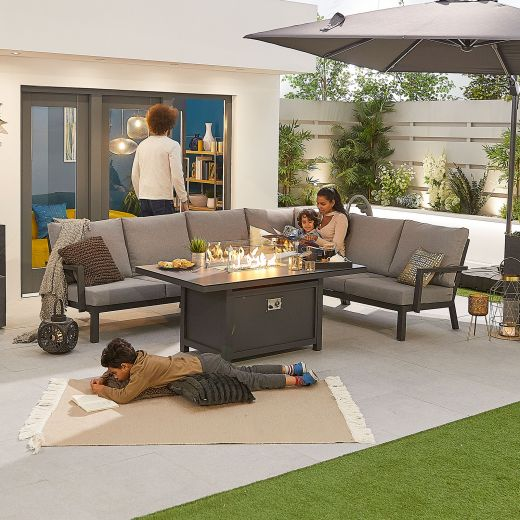 Vogue Aluminium Casual Dining Corner Sofa Set with Firepit Table - Grey Frame