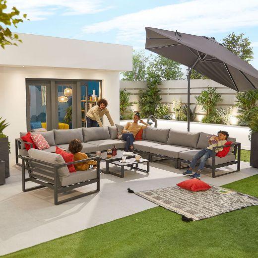 Alessandria 5A Aluminium Corner Sofa Set - Grey
