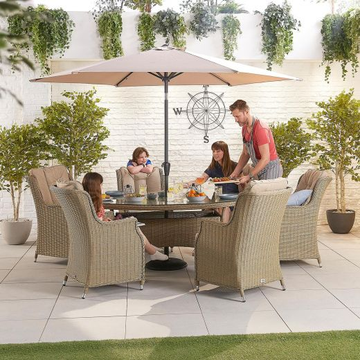 Thalia 6 Seat Dining Set - 1.8m x 1.2m Oval Table - Willow
