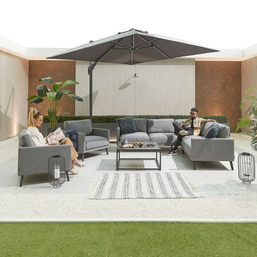 Bliss Outdoor Fabric Corner Sofa Set with 2 Armchairs - Light Grey