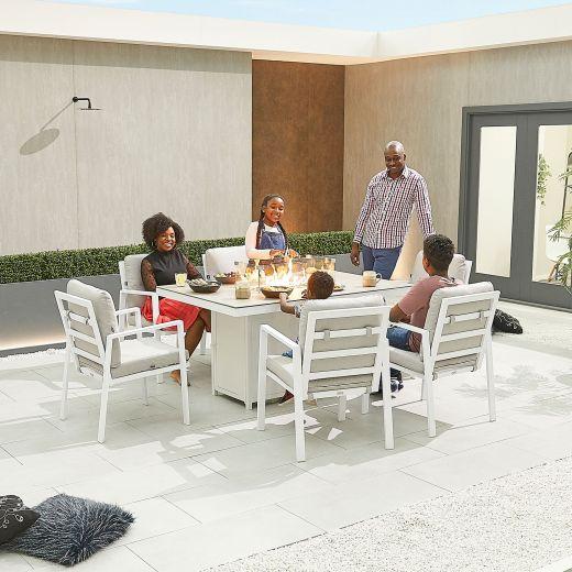 Enna 6 Seat Dining Set - 1.5m x 1m Rectangular Firepit Table - White Frame