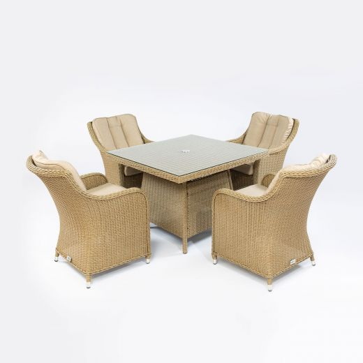 Camilla 4 Seat Dining Set - 1m Square Table - Willow