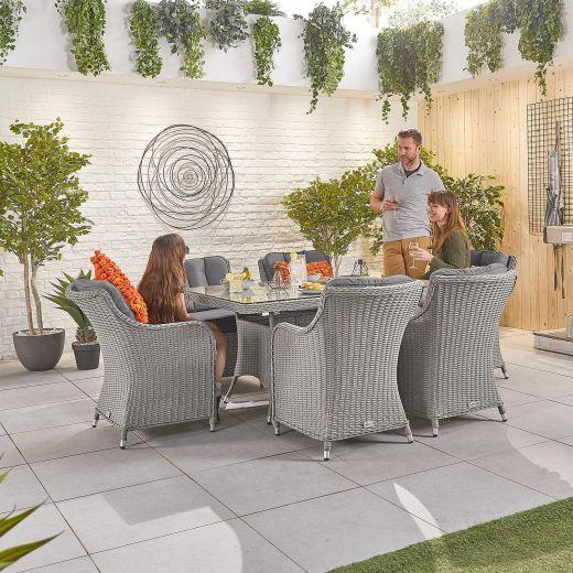Camilla 6 Seat Dining Set - 1.5m x 1m Rectangular Table - White Wash