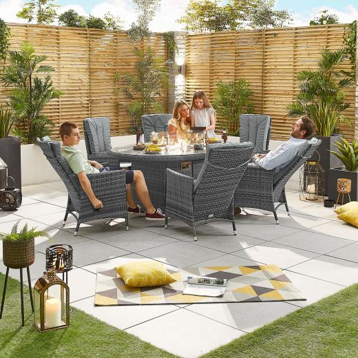 Nova - Ruxley Fireglow 6 Seat Rattan Dining Set - 1.8m x 1.2m Oval Gas Fire Pit Table - Grey