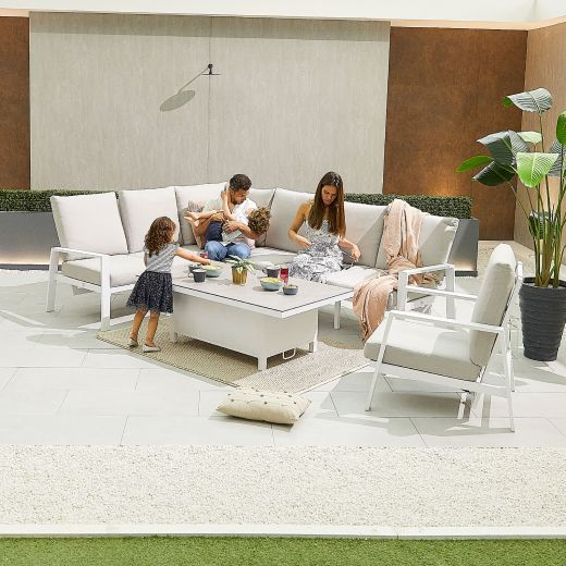Enna Left Hand Aluminium Reclining Casual Dining Corner Sofa Set with Rising Table & Armchair - White Frame