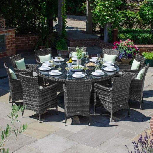 Amelia 10 Seat Dining Set - 1.8m Round Table - Grey