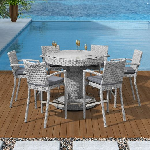 Heritage Henley 6 Seat Round Bar Set with Parasol Hole - White Wash