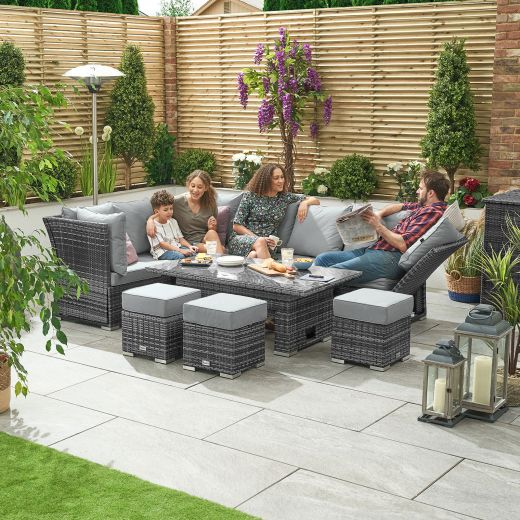 Cambridge Left Hand Reclining Casual Dining Corner Sofa Set with Rising Parasol Hole Table - Grey