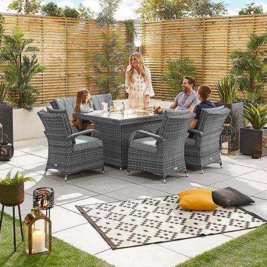 Olivia 6 Seat Rattan Dining Set - 1.5m x 1m Rectangular Firepit Table - Grey