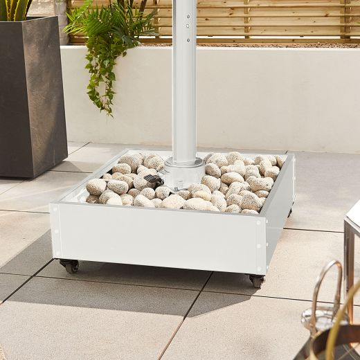 Stone Fillable Metal Cantilever Parasol Base with Wheels - White