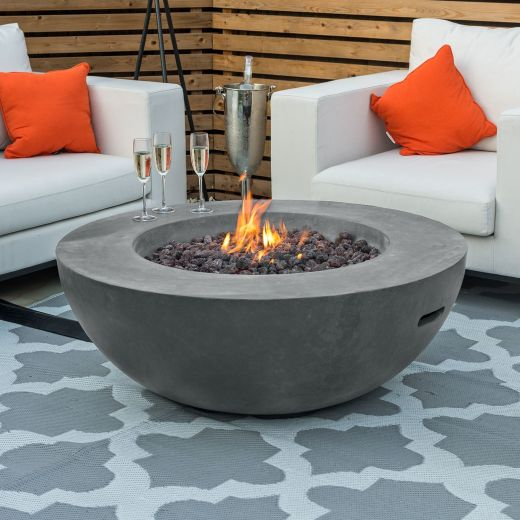 Fireglow Brisbane Round Gas Fire Bowl - Light Grey