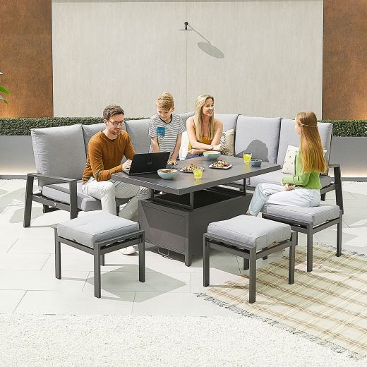 Enna Right Hand Aluminium Reclining Casual Dining Corner Sofa Set with Rising Table & Footstools - Grey Frame