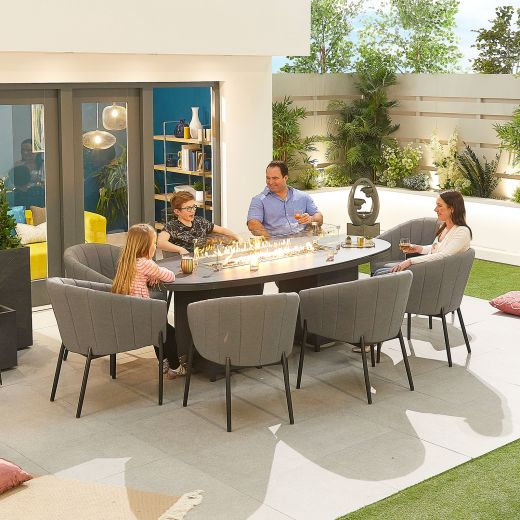 Edge Outdoor Fabric 8 Seat Oval Dining Set with Firepit - Light Grey