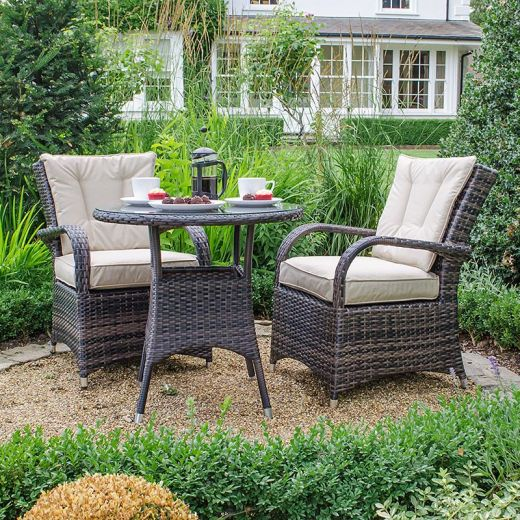 Nova - Olivia 2 Seat Rattan Bistro Set - 75cm Round Bistro Table - Brown
