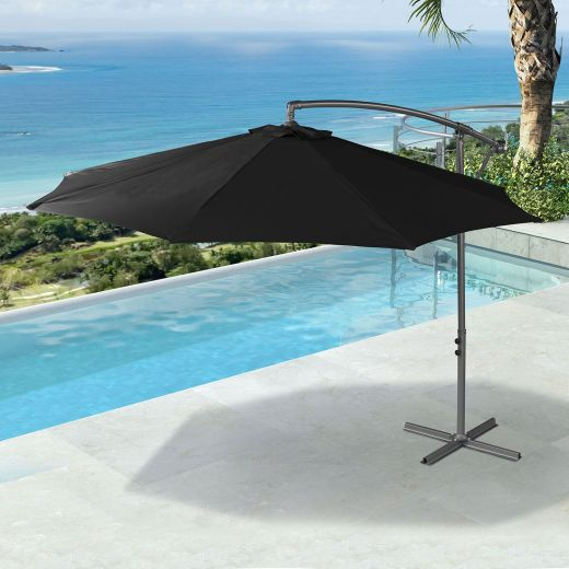 Barbados 3m Round Cantilever Parasol - Crank Operated - Black
