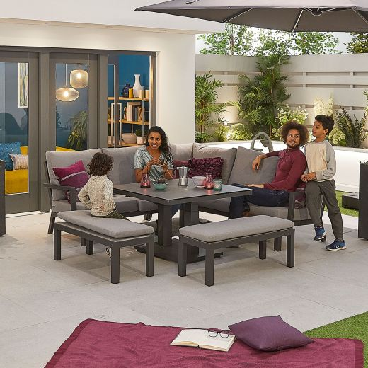 Compact Vogue Aluminium Casual Dining Corner Sofa Set with Rising Table & Benches - Grey Frame