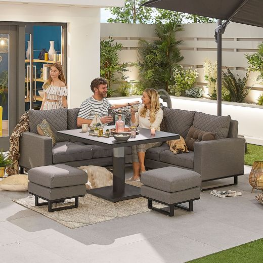 Compact Eclipse Outdoor Fabric Casual Dining Set with Stools and Rising Table - Light Grey