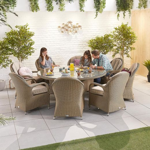 Leeanna 8 Seat Dining Set -  1.8m Round Table - Willow