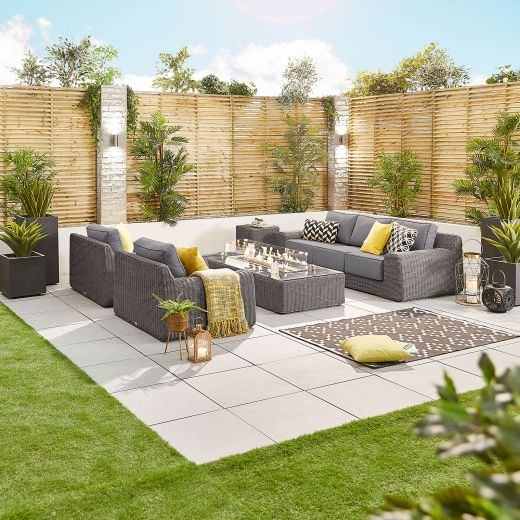 Luxor 3 Seat Sofa Set with Firepit Table - Slate Grey