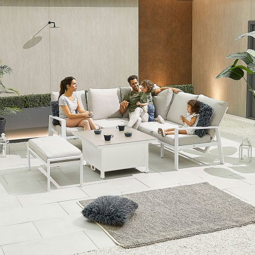 Compact Enna Aluminium Reclining Casual Dining Corner Sofa Set with Rising Table & Bench - White Frame