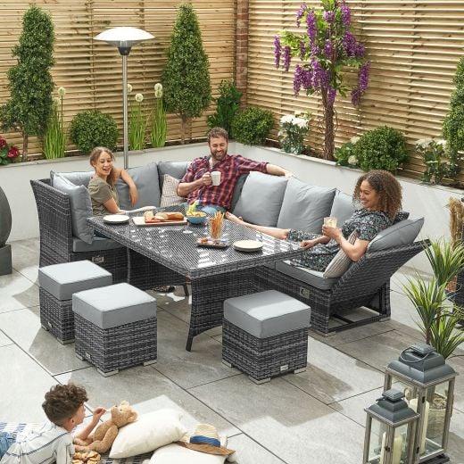 Cambridge Left Hand Reclining Casual Dining Corner Sofa Set with Parasol Hole - Grey