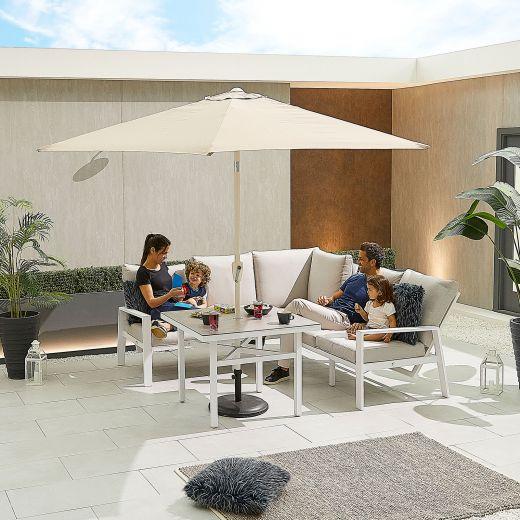 Compact Enna Aluminium Reclining Casual Dining Corner Sofa Set with Parasol Hole - White Frame