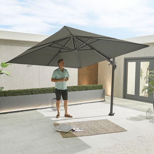 Genesis 3m Square Cantilever Parasol - Crank & Tilt - Grey