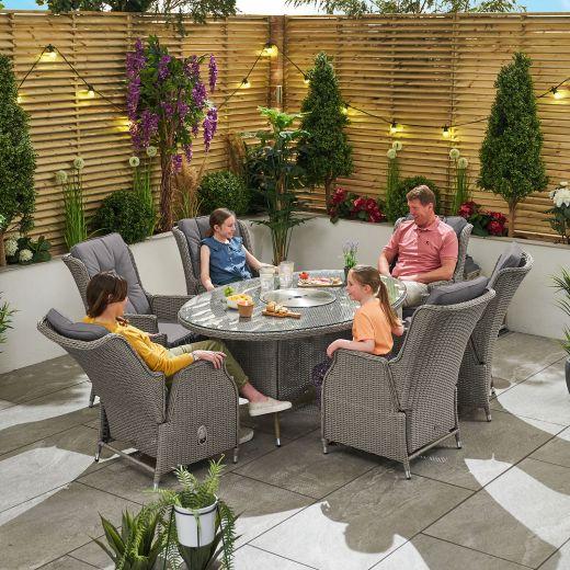 Carolina 6 Seat Dining Set - 1.8m x 1.2m Oval Ice Bucket Table - White Wash