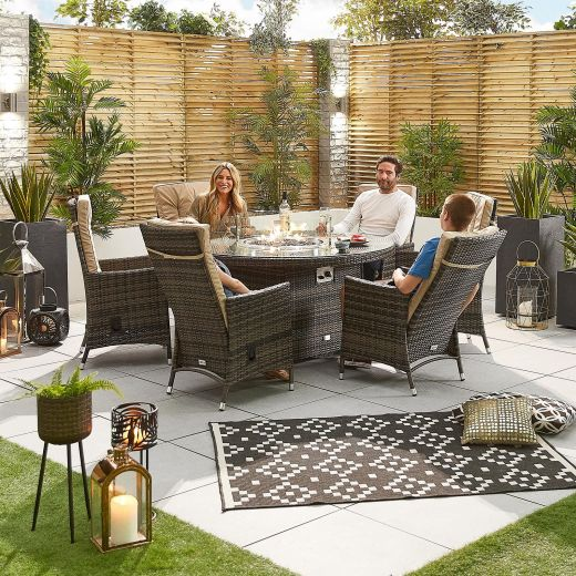 Ruxley 6 Seat Dining Set - 1.5m Round Firepit Table - Brown