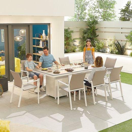 Roma 8 Seat Dining Set - 2m x 1m Rectangular Firepit Table - White Frame